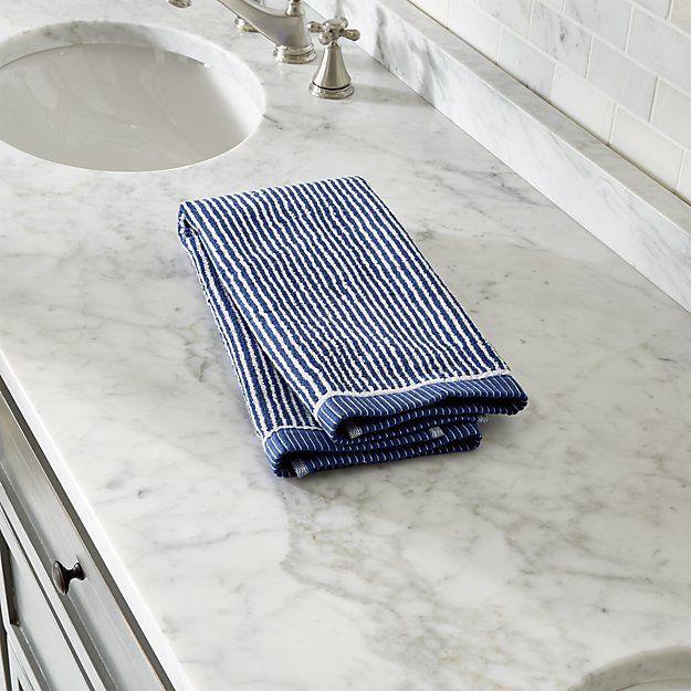 Marimekko Ilta Blue Hand Towel | Crate and Barrel