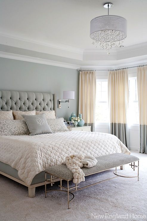 New England Home: Morgan Harrison Home - Contemporary blue bedroom with tray ceiling with crystal drops ... Love everything about this