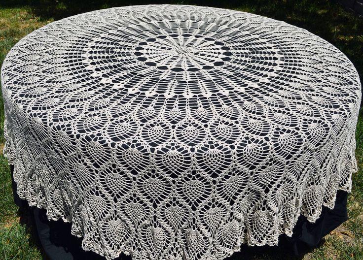Round Crochet Tablecloth, Vintage Style Crochet Pineapple Tablecloth,  Thread Crochet Tablecloth,Heirloom Tablecloth