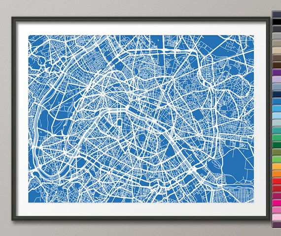 Paris France City Street Map Art Print 77 Custom by artPause