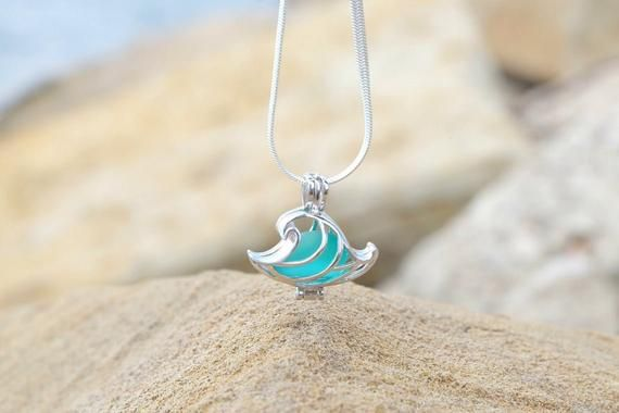 Hamsa and Beach Glass Necklace and Earings