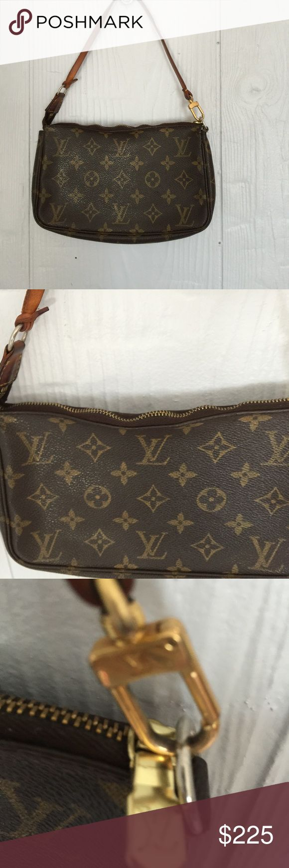 Louis Vuitton Monogram Pochette w/strap Pre Owned Authentic SD0013, recently took to the store to have the zipper pull replaced.  Please look at pictures some wave to the zipper but still works perfect, Offers Accepted Louis Vuitton Bags Mini Bags