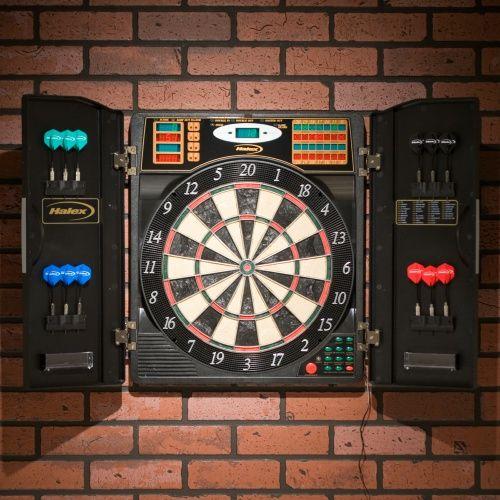 Halex Madison BristleTech Electronic Dart Board with Contemporary Cabinet - Bristle Dart Boards at Hayneedle