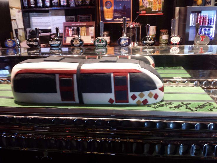 Edinburgh tram cake made by Liggy's cake company to celebrate the re-opening of Edinburgh's West End.
