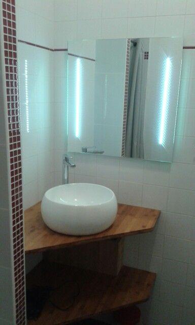 Vasque toute ronde et miroir led en angle