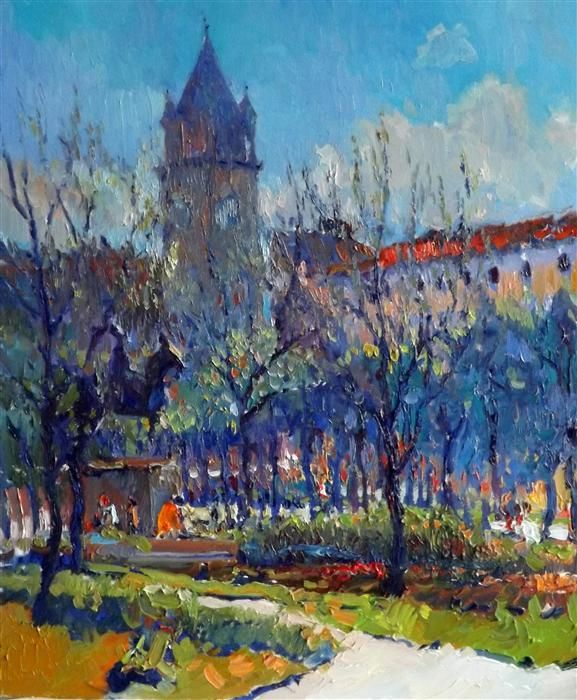 Original art for sale at UGallery.com | Morning in the Park (Washington DC) by Suren Nersisyan | oil painting