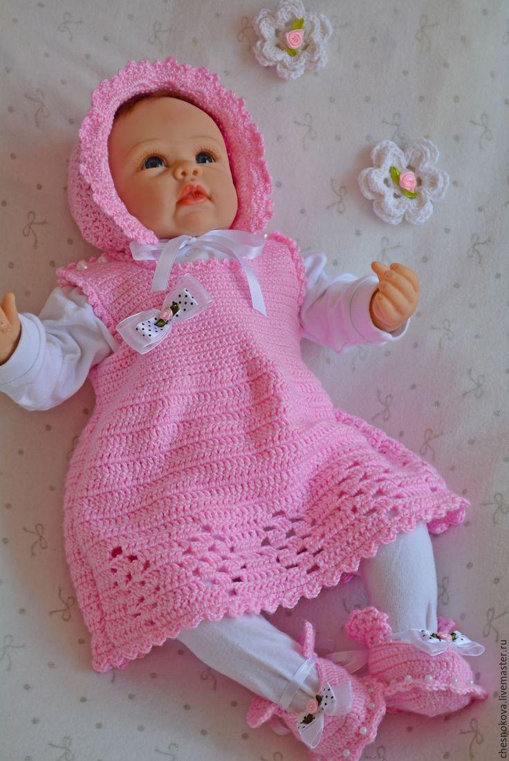 """Купить Сарафан для девочки """"маленькая парижанка"""" . Одежда для новорожденных. - розовый, сарафан крючком, сарафан для девочки"""