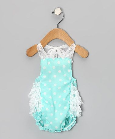 How flirty... Aqua Polka Dot Bubble Bodysuit - Infant by Tutus by Tutu AND Lulu on #zulily today!