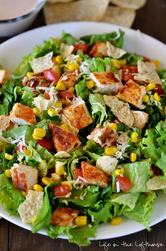 Chicken Taco Salad. This salad is packed with flavor! RP by greatrecipestoshare.com