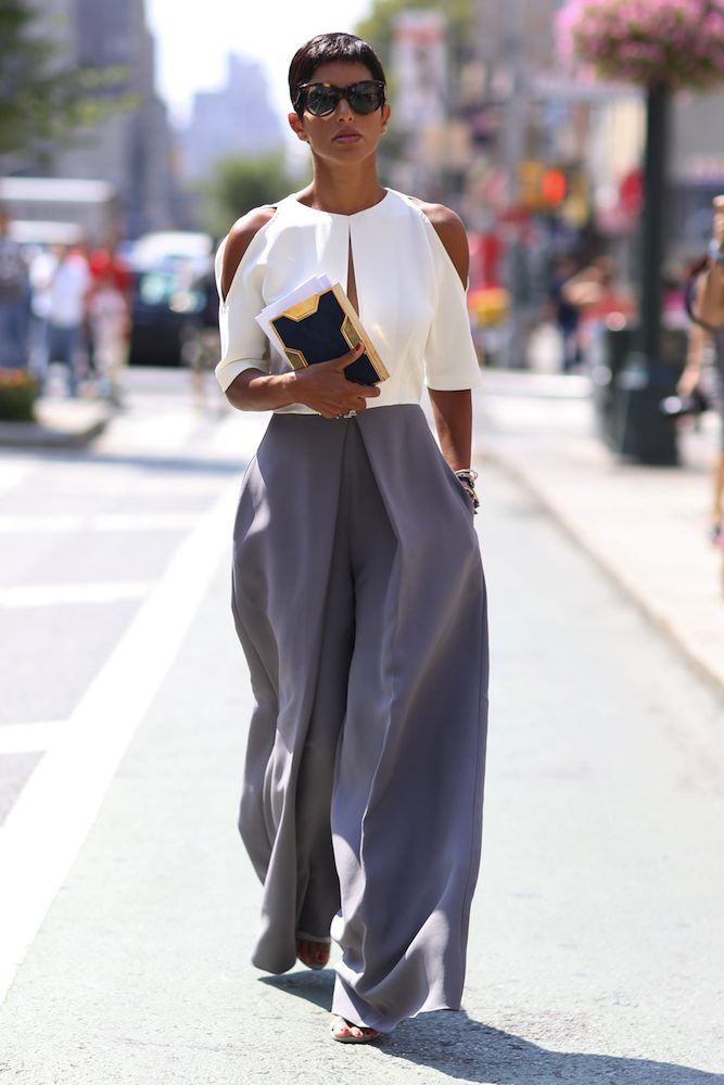 We love the combination of wide trousers and cutout shoulder top see at NYFW. For this look we absolutely recommend you keep a travel size Garment Groom in your purse at all times. It not only removes stain, fast, it freshens clothes and helps 'iron' out a wrinkle... or two.
