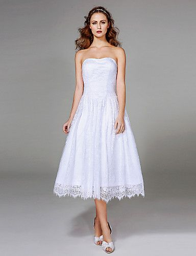 2017 Lanting Bride® A-line Wedding Dress - Classic & Timeless Little White Dresses Tea-length Strapless Lace with Ruche 5282877 2017 – $89.99    I really love this one