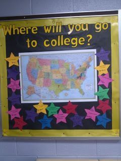 Bulletin Board for highschool. Diary of a highschool counselor's office Where will you go to college?