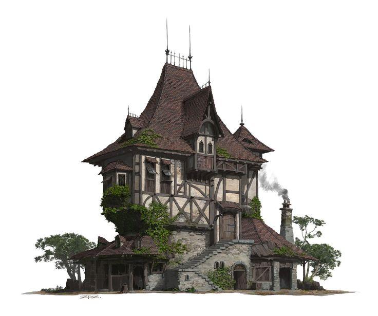 A folk house design, Z PZ on ArtStation at https://www.artstation.com/artwork/3r2rv?utm_campaign=digest&utm_medium=email&utm_source=email_digest_mailer