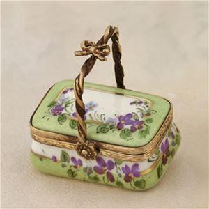 Limoges Violets Green Basket Box The Cottage Shop.  One of my favorite color combinations.