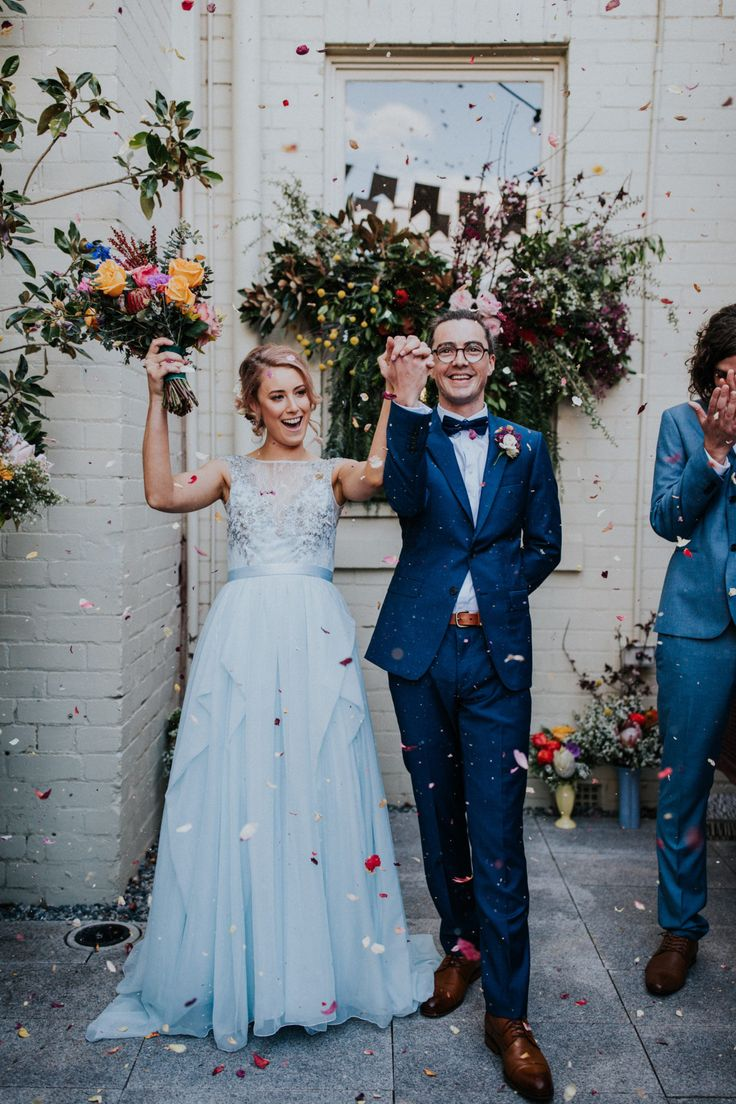 Vibrant Fremantle wedding with a pale blue wedding dress