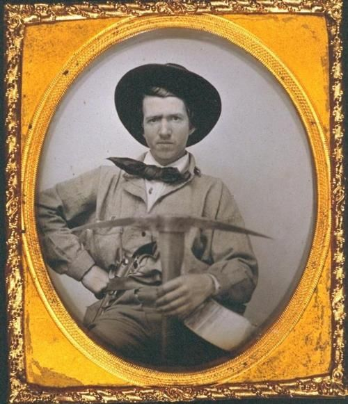 ca. 1850's, [daguerreotype portrait of Joseph Sharp, with pick axe in hand, 1849 gold miner, of Sharp's Flats]. via the Online Archives of California, UC Berkeley, Bancroft Library