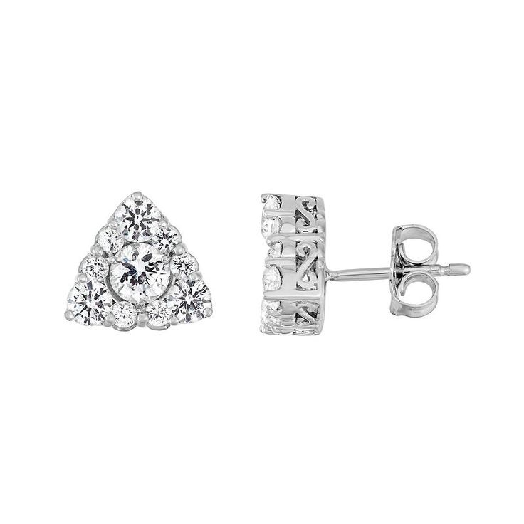 Sterling Silver Lab-Created White Sapphire Triangle Stud