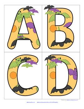 FREE This is a set of large upper case letters with a Halloween/bats theme. Large enough for bulletin board and room décor.