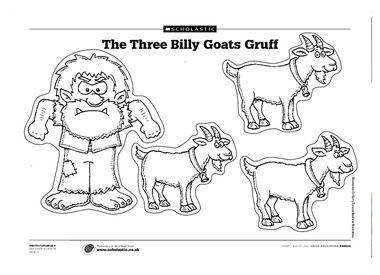 3 billy goats gruff printables | Pictures of the billy goats and the troll for children to cut out and ...