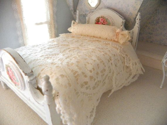 dollhouse double bed French style shabby chic by Mondinadollhouse