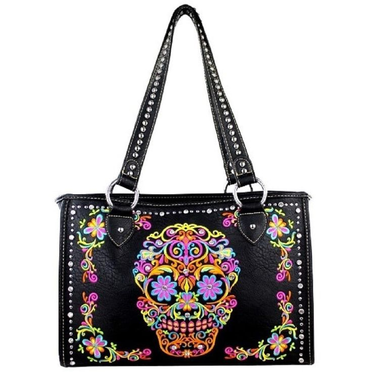 Montana West Sugar Skull Concealed Handgun Collection Shoulder Handbag, Women's