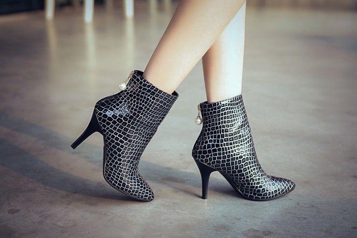 Женская мода ботильоны 2016 молния случайные кожаные ботинки лодыжки ботинки женщин высокой пятки сапоги черные сексуальные острым носом зима сапоги купить на AliExpress