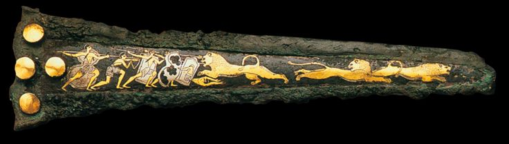 Mycenaean dagger, 1600 BC, bronze inlaid with gold, silver & nielle, l. 23,8cm, Athens National Archeological Museum