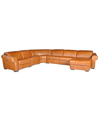 Blayne leather sectional sofa 5 piece chair armless for Flexsteel 4 piece sectional sofa with right arm facing chaise in brown