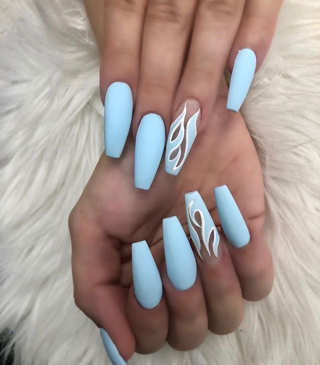 Liquid Blue Fire In 2020 Acrylic Nails Coffin Short Best Acrylic Nails Short Acrylic Nails Designs