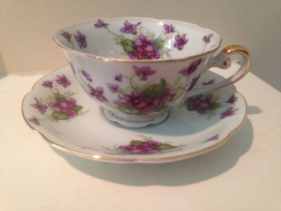 Vintage- Hand Painted Lefton China Tea Cup and Saucer Set ...