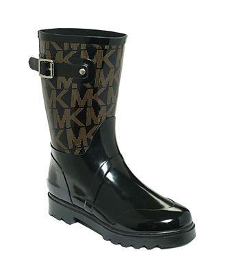 MICHAEL Michael Kors Shoes, Logo Mid Rainboots - Shoes - Macy's want these!