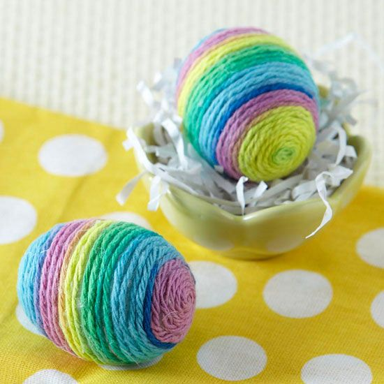 Use colorful yarn to create this unique Easter eggs! Get instructions here: http://www.bhg.com/holidays/easter/eggs/pretty-no-dye-easter-eggs/?socsrc=bhgpin030113yarneggs=2