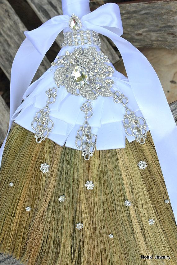 This is beautiful... wedding broom photos | Diamante wedding broom -- made to order wedding jumping broom