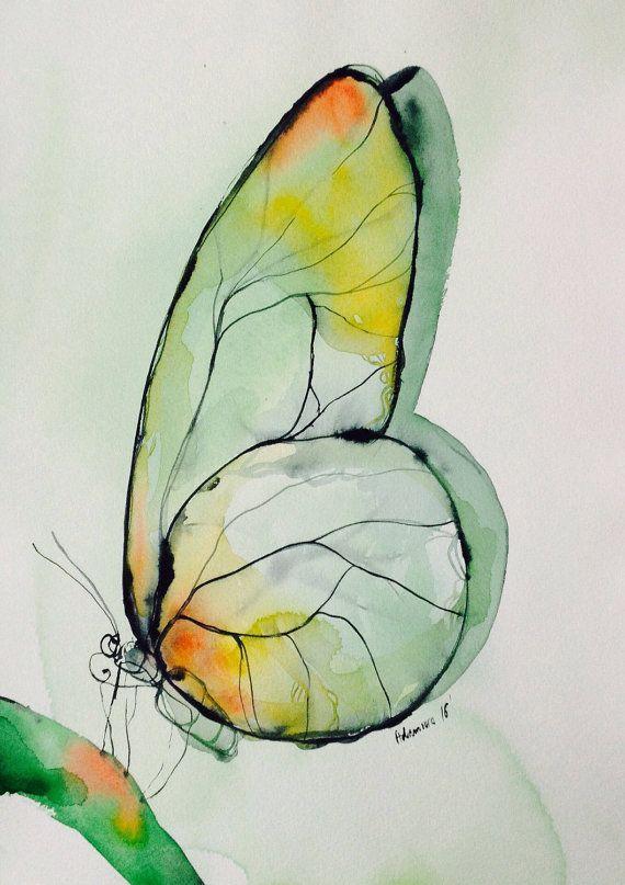 Papillon vert Aquarelle sur papier, œuvres d'art originales. Art de l'aquarelle. D'anniversaire unique présent, l'eau couleur croquis. Photo de l'aquarelle.