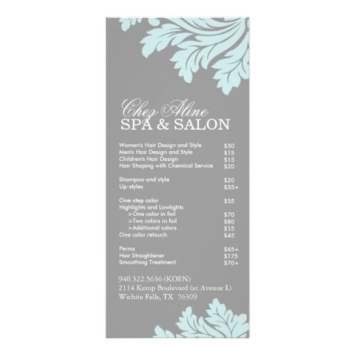 Delightful Salon And Spa Service Menu