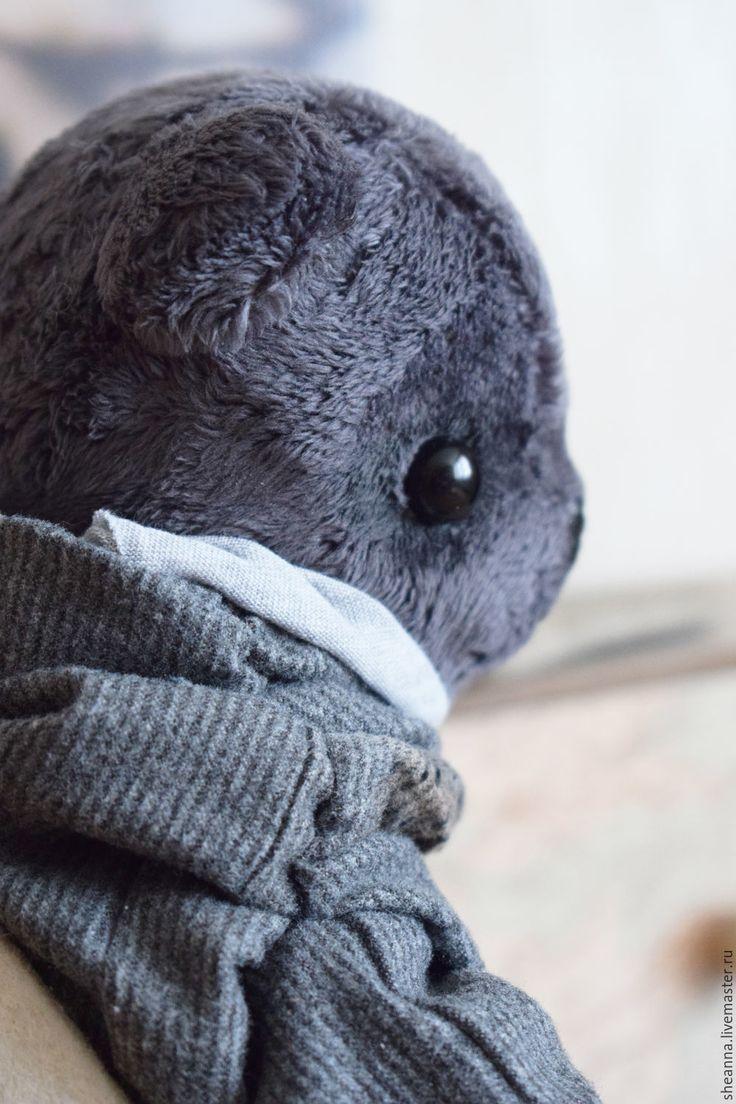 Купить Триггви - серый, мишка тедди, триггви, медведь плюшевый, искусственный мех, натуральная кожа