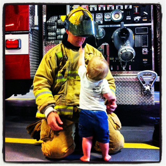 My sweet little boy and his real life HERO... aka Daddy  #firefighter #nextgeneration #sflybestdad