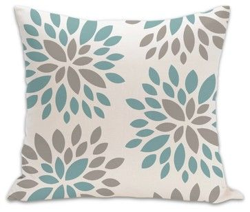 Dahlia Organic Cotton Fabric 18 x 18 Pillow in Light Teal/Khaki/Natural - contemporary - pillows - PURE Inspired Design