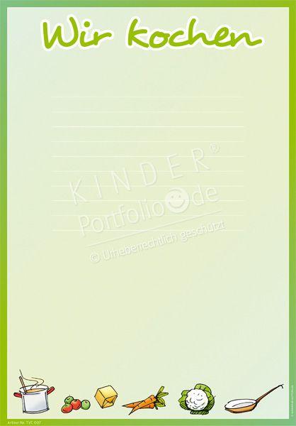"""Kindergarten Portfolio Vorlage """"Wir kochen"""""""