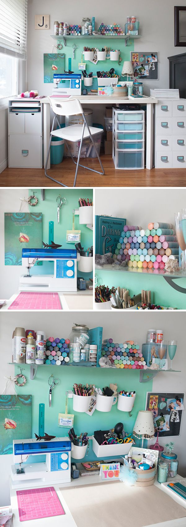 This is what crafting looks like in my house ~ Jen of SomethingTurquoise.com (this would be my almost dream set up! Clearly I would have to have my computer around.