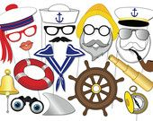 Nautical Party Photo booth Props Set - 20 Piece PRINTABLE - Sailor, Old Sea Captain, Old Salty Seafarer, Navy, Shark, Ancor, Sea decorations