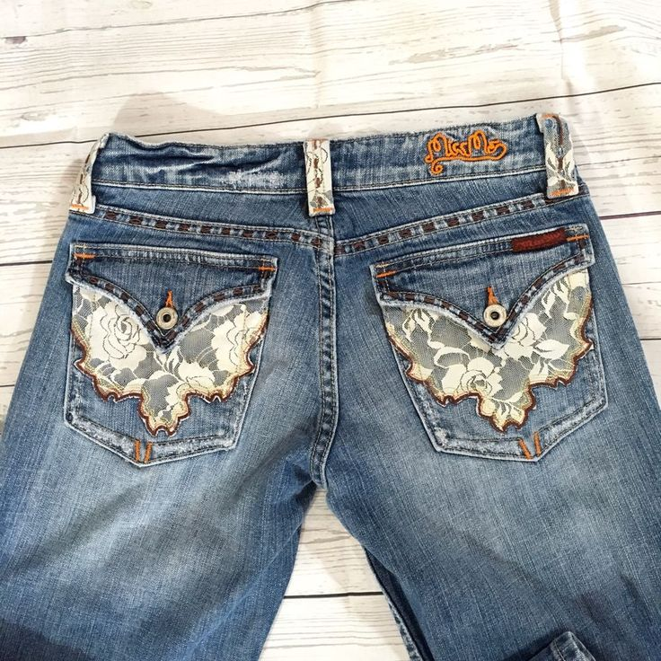 Women's Miss Me Jeans Size 28 Lace Adorned Back Flap Pockets St. Louis Medium  | eBay