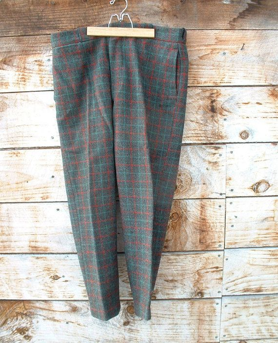 Vintage mens wool hunting pants charcoal by VintagefromVermont