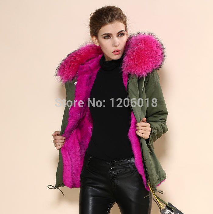 2017 newest design winter ladies parka with rose pink removable faux fur collar rose pink warm