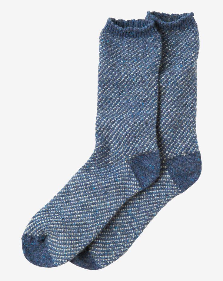 Jacquard knit socks with a flecked yarn in a soft wool/silk blend. Contrast…