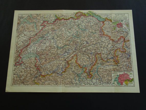 SWITZERLAND old map of Switzerland 1926 by DecorativePrints
