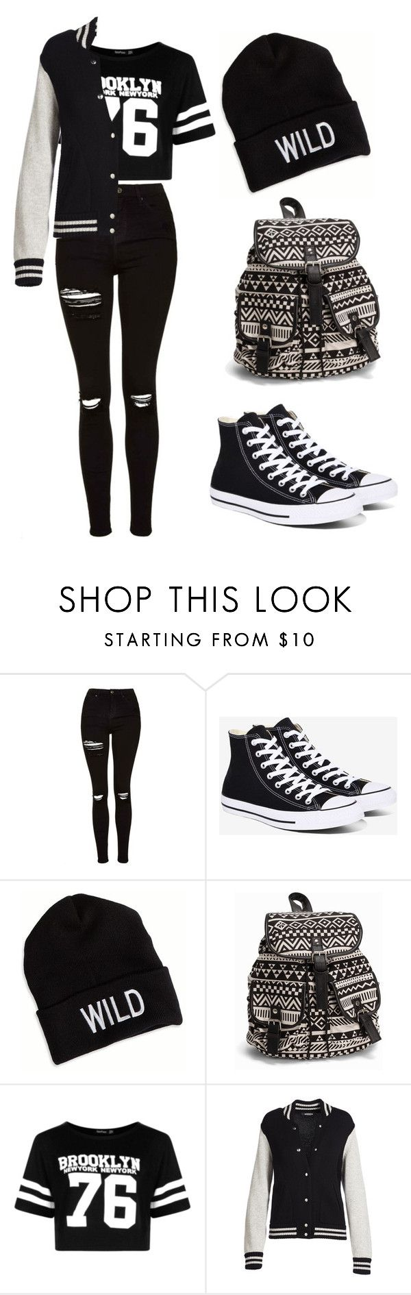 """""""College Days"""" by caro-puppo on Polyvore featuring Topshop, Converse, American Eagle Outfitters, NLY Accessories, Boohoo and Marc Jacobs"""
