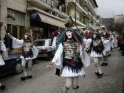 """""""Genitsaroi"""" and """"Mpoules"""", a traditional custom from Naousa city in Greece, during the carnival"""