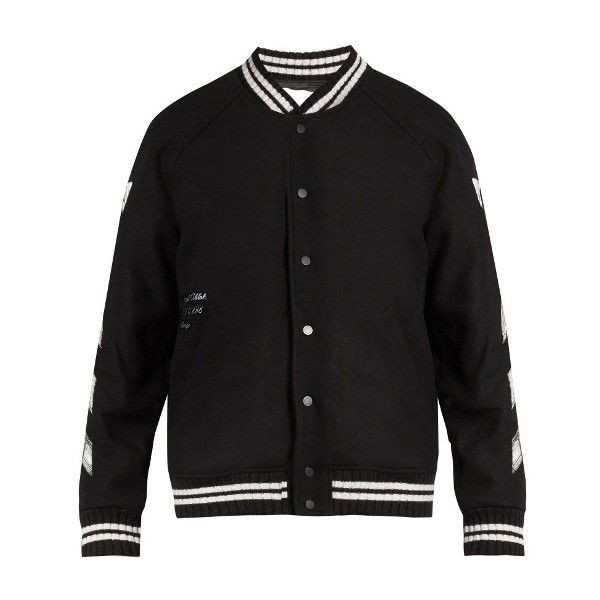 Off-White Logo-print wool-blend bomber jacket ($1,060) ❤ liked on Polyvore featuring men's fashion, men's clothing, men's outerwear, men's jackets, black and mens urban jackets