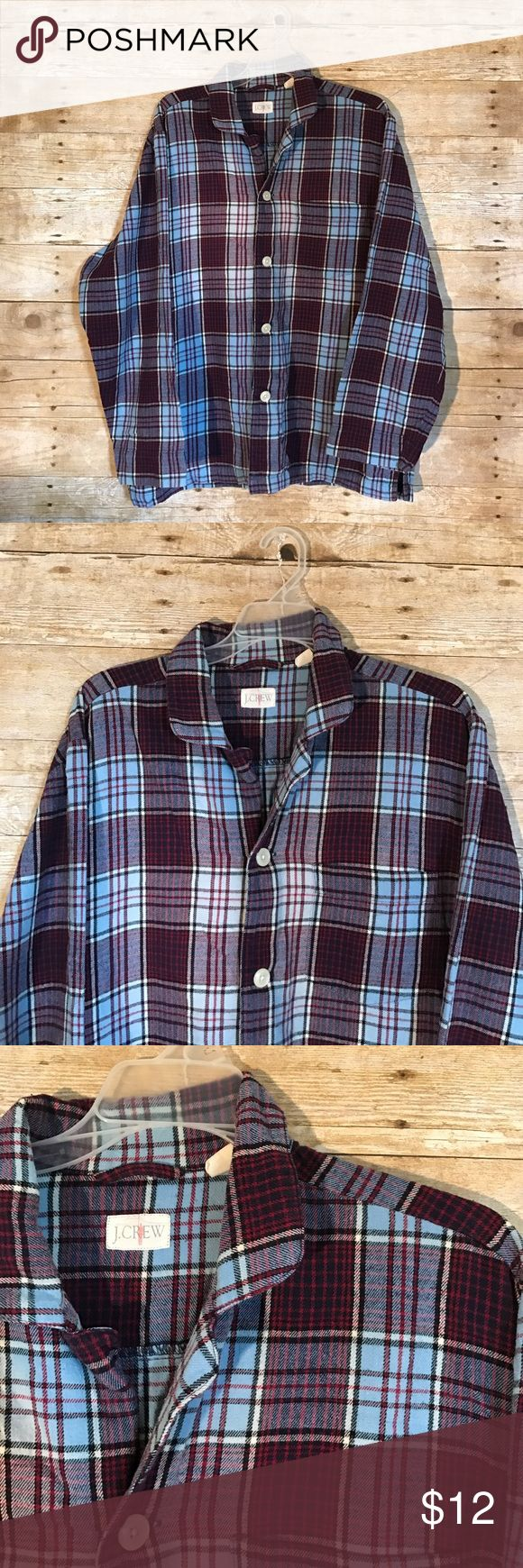 J. CREW Men's Flannel Pajama top checkered size M J. CREW Brand - checkered Flannel - 100% Cotton - Men's size Medium - great condition NO rips or stains - burgundy/light blue w/ white buttons - pajama top ‼️FAST SHIPPING ‼️ J. Crew Shirts Tees - Long Sleeve